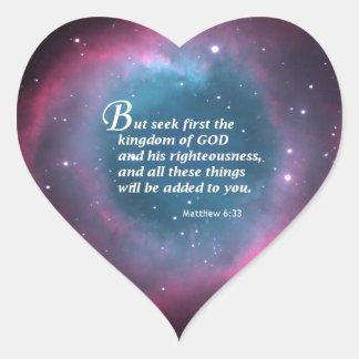 Matthew 6:33 heart sticker