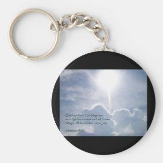 Matthew 6:33 Shining Clouds Basic Round Button Key Ring