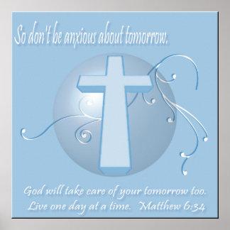 Matthew 6:34 Bible Verse Poster