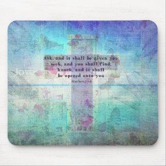 Matthew 7:7-8 Inspirational Bible Verse Christian Mouse Pad