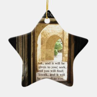 Matthew 7:7 Beautiful Bible Verse Ceramic Star Decoration