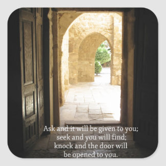 Matthew 7:7 Inspirational Bible Verse Square Sticker