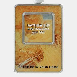 Matthew 8 : 20 silver plated framed ornament