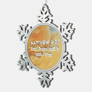 Matthew 8 : 20 snowflake pewter christmas ornament