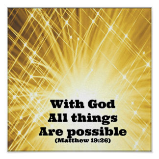 Matthew Bible With God all things are possible Poster