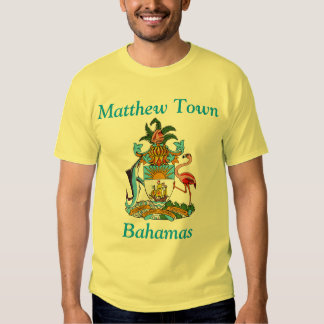 Matthew Town, Bahamas with Coat of Arms Tshirts