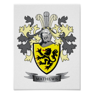 Matthews Family Crest Coat of Arms Poster