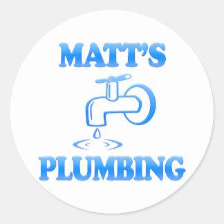 Matt's Plumbing Round Sticker