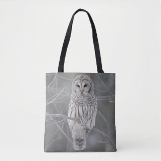 Mature Barred or Hoot Owl in Winter Tote Bag