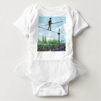 Mature Man Walking a Tightrope above Flowers Baby Bodysuit