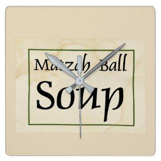 Matzah Ball Soup Square Wall Clock