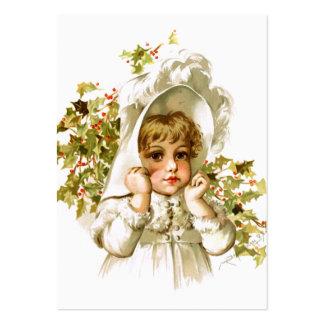 Maud Humphrey Autumn Girl with Holly Business Card Templates