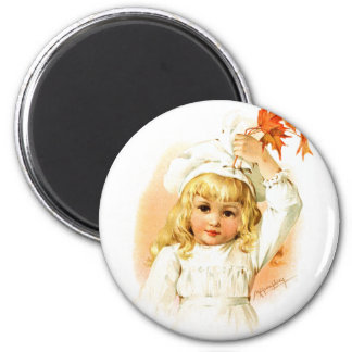 Maud Humphrey: Autumn Girl with Maple Leafs 6 Cm Round Magnet