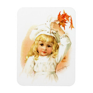 Maud Humphrey: Autumn Girl with Maple Leafs Rectangular Photo Magnet
