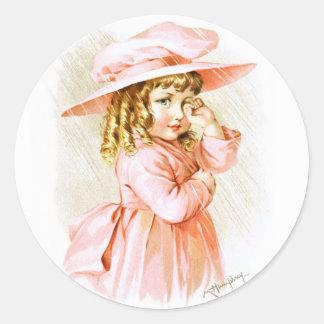 Maud Humphrey: Spring Girl in the Rain Classic Round Sticker