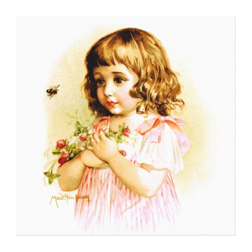 Maud Humphrey: Summer Girl with Flowers and Bee Stretched Canvas Print