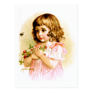Maud Humphrey: Summer Girl with Flowers and Bee Postcard