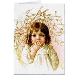 Maud Humphrey: Winter Girl under Mistletoe Card