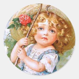 Maud Humphrey's Sweet Little Summer Girl Classic Round Sticker