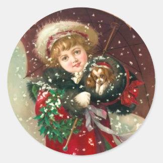 Maud Humphrey's Winter Girl with dog Classic Round Sticker