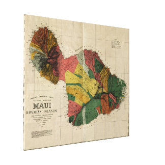 Maui, 1885, Vintage Antiquarian Hawaii Map Canvas Print