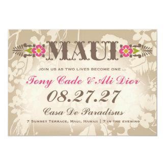 MAUI Destination Tropical Floral Linen 13 Cm X 18 Cm Invitation Card