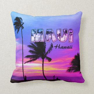 Maui, Hawaii, Purple Palm Trees Cushion