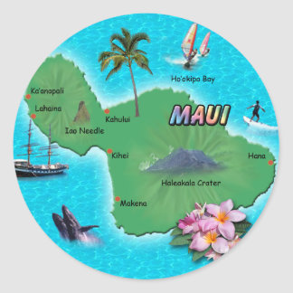 Maui Map Classic Round Sticker