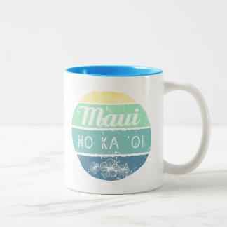 Maui No Ka Oi Vintage Typography Two-Tone Coffee Mug