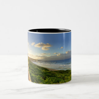Maui. Path to sunset. Oneloa Beach. Two-Tone Coffee Mug