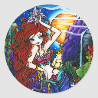 Maui Princess Mermaid Fairy Cockatoo Classic Round Sticker