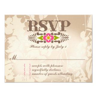MAUI RSVP Tropical Floral Linen Paper 11 Cm X 14 Cm Invitation Card