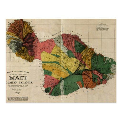 Maui - Vintage Antiquarian Hawaii Survey Map, 1885 Post Cards