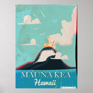 mauna kea volcano vintage Hawaii travel poster