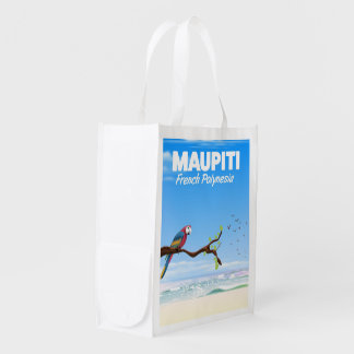 Maupiti French polynesia travel poster Reusable Grocery Bag