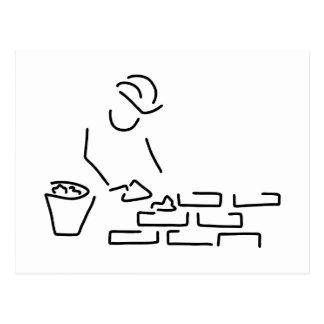maurer bauarbeiter hausbau mauer postcard