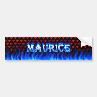 Maurice blue fire and flames bumper sticker design