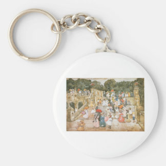 Maurice Prendergast, The Mall, Central Park Basic Round Button Key Ring