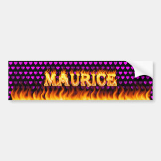 Maurice real fire and flames bumper sticker design