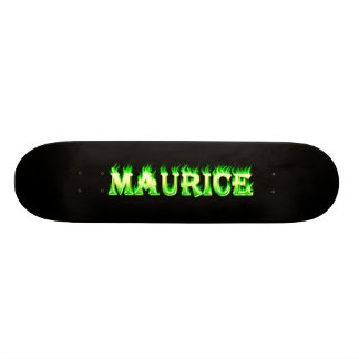 Maurice skateboard green fire and flames design