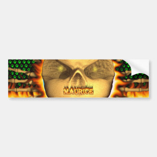 Maurice skull real fire and flames bumper sticker