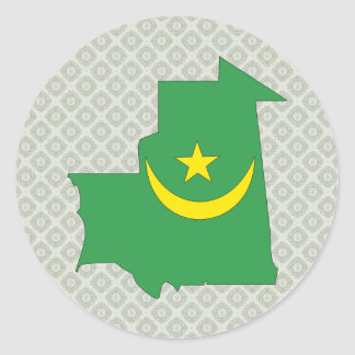 Mauritania Flag Map full size Classic Round Sticker
