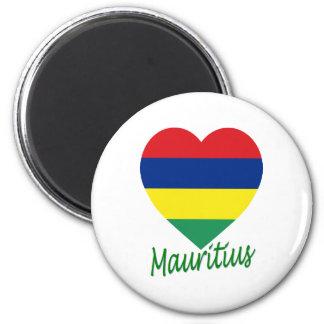 Mauritius Flag Heart 6 Cm Round Magnet