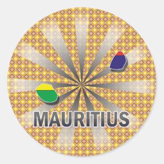 Mauritius Flag Map 2.0 Classic Round Sticker