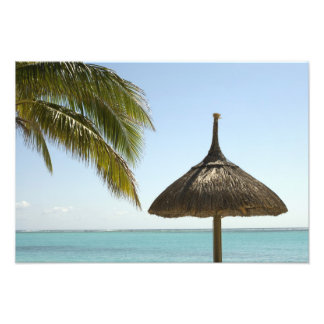 Mauritius Idyllic beach scene with umbrella Photo
