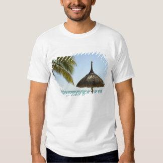 Mauritius. Idyllic beach scene with umbrella Tees