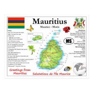 Mauritius Map Postcard