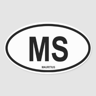 "Mauritius ""MS"" Oval Sticker"