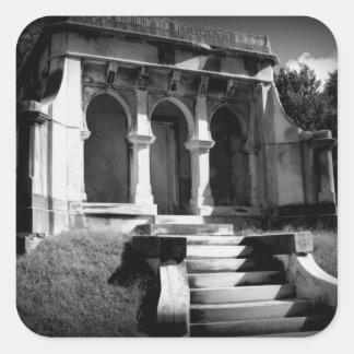 Mausoleum on a hill square sticker