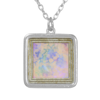 Mauve Abstract Roses Silver Plated Necklace